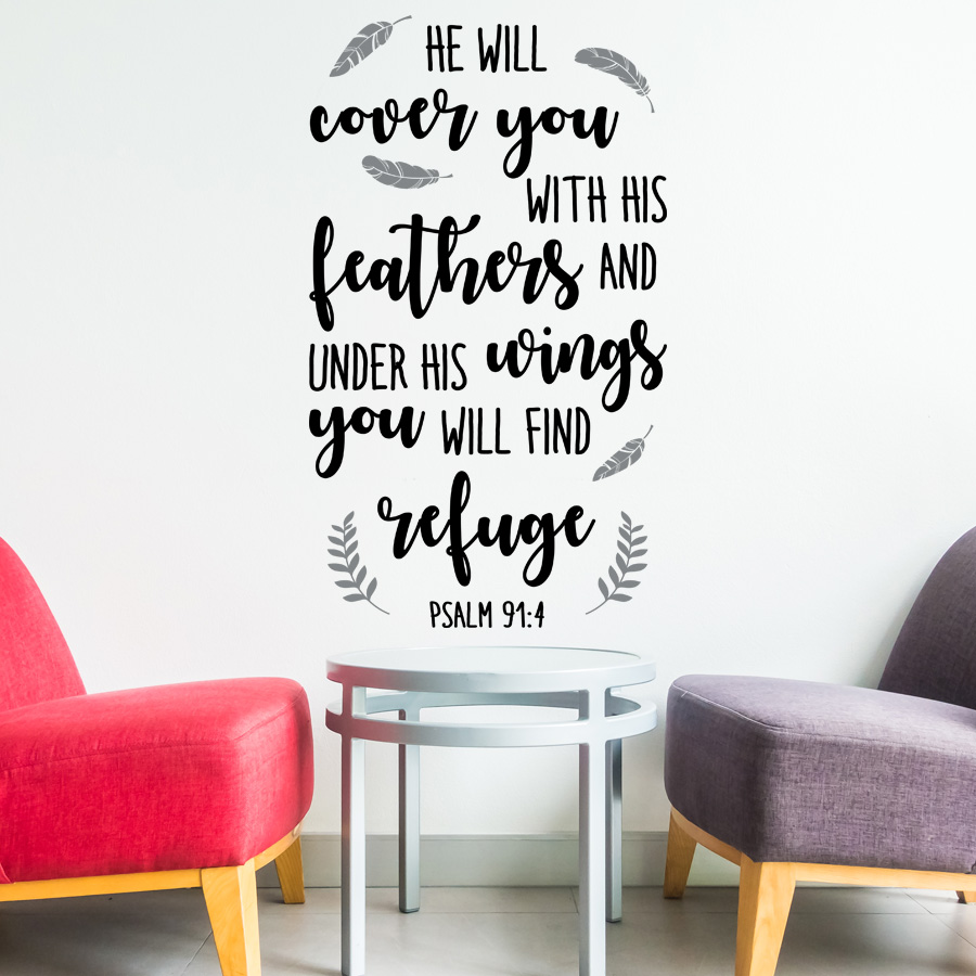 Psalm 91:4: Quality Made-in-Singapore Decal from Decorette